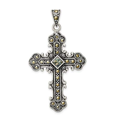 (Jewelry Stores Network Marcasite Cross Pendant in 925 Sterling Silver 50x29mm)
