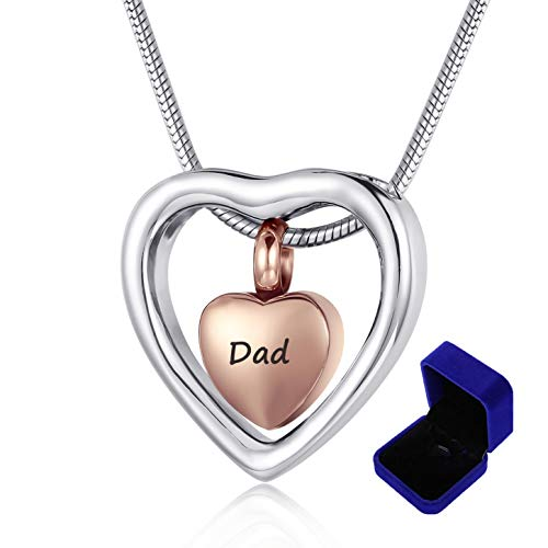 Eternalmemorial Beautiful Double Heart Dad Cremation Jewelry for Ashes Stainless Steel Ash Holder Urn Necklace Father Memory JewelryWith Funnel +Velvet Box (Dad) ()