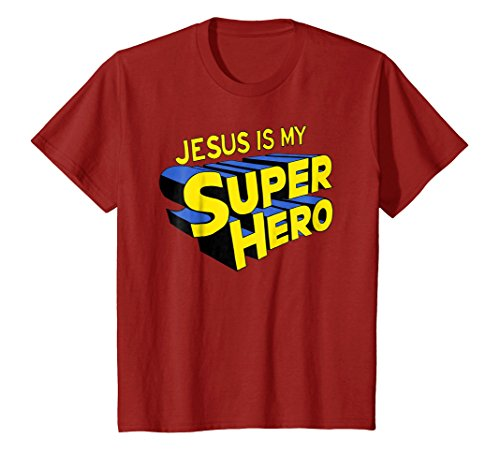 Kids Jesus is my Superhero Shirt, Religious Christian Church Tee 8 Cranberry by Miftees