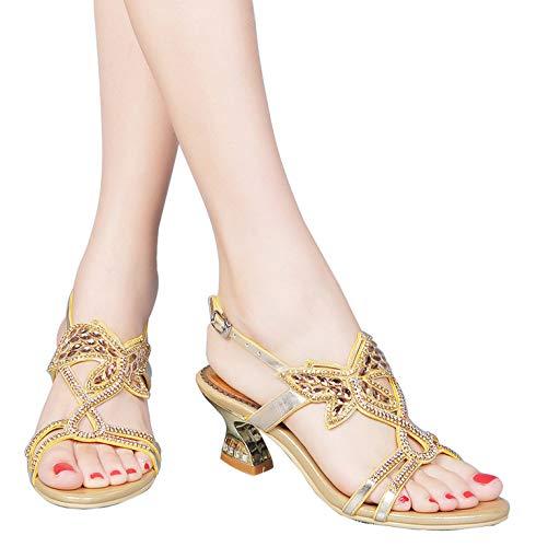 YooPrettyz Low Heel Evening Sandals Embellished Stud Butterfly Dress Party Wedding Sandal Gold 7.5 (Dress Embellished Butterfly)
