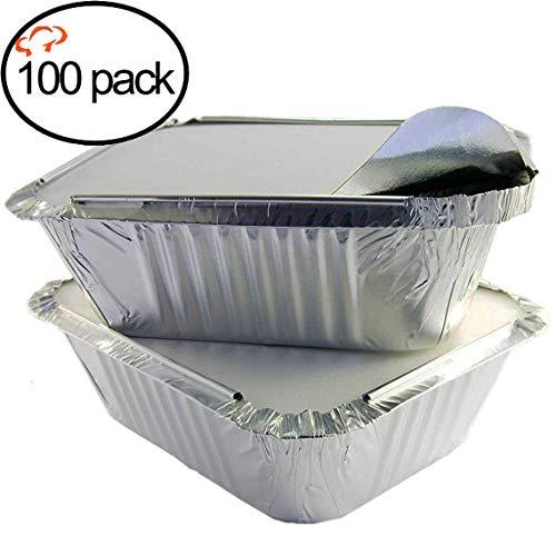 50 Pack Heavy Duty Disposable Aluminum Oblong Foil Pans