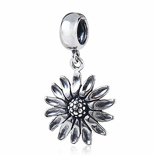 Hoobeads Sunflower Charms Pendant Authentic 925 Sterling Silver Flower Charm for European Bracelet (Antique)