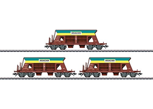 Type Falls Hopper 3-Pack - 3-Rail Ready to Run -- Weiacher Kies (Era VI, Boxcar Red, yellow, green)