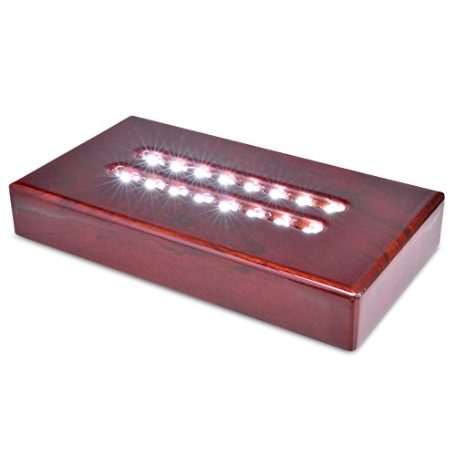 Santa Cruz Lights Large Cherry Wood 16 LED White Light Stand Base for Crystals, Glass Art ()