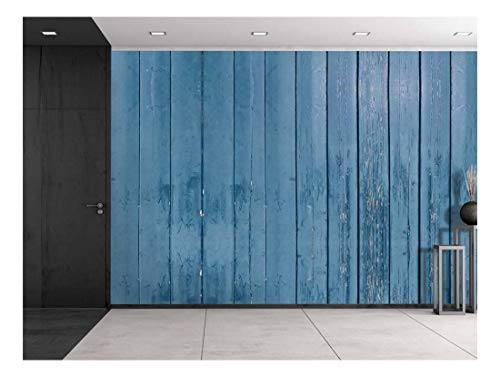 Blue Wooden Fence Panels Wall Mural