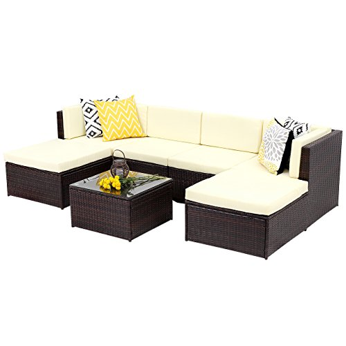 Wisteria Lane Outdoor Rattan Sectional Sofa,7-Piece Patio Furniture Set Chair Couch Ottoman&Coffee Table,Brown Wicker Sofa with Light Yellow Washable (Contemporary Dining Accessories)