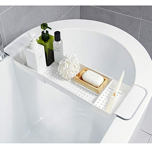 BROADSEAL Expandable Bathtub Tray,Adjustable Bathtub Caddy Tray and Organizer for Book/Wine/Phone,Washing Colander PP+TPR Material for Vegetable and Fruit (White)