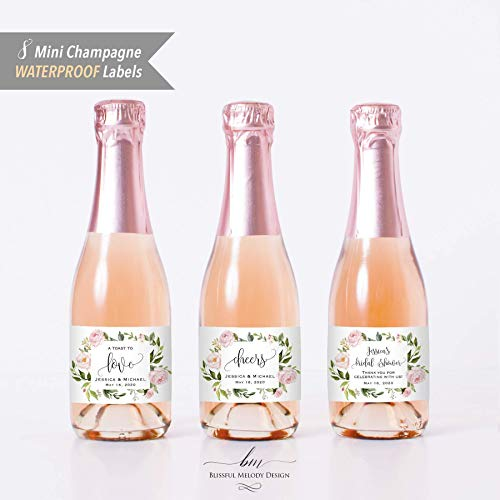 8 Customized WATERPROOF Polyester Mini Champagne Bottle Labels, Personalized Blush Pink Floral Mini Wine Bottle Label Sticker, 2x3.5