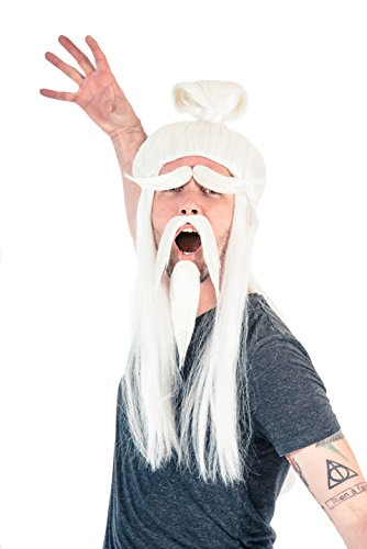 Adult Halloween White Fu Manchu Beard and Wig Costume Accessory