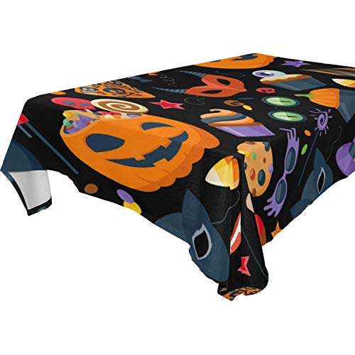 My Little Nest Rectangle Tablecloth Halloween Party Hat Sweets Masks Washable Fabric Table Cover for Picnic Party KitchenDiningDecor 60x108 inch ()