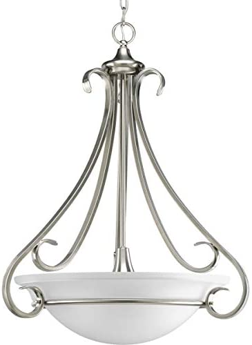 Progress Lighting P3847-09 3-Light Torino Inverted Pendant, Brushed Nickel