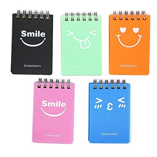 TANG SONG 5Pack 2.25''x3.3'' Narrow Ruled Wirebound Memo Book, Top Bound Memo Books, Mini Notebooks, Spiral Notebooks, Mini Pocket Memo Pads, For Kids, School Supplies, Office Desk(90 Pages Each)