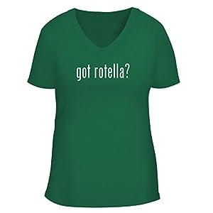 BH Cool Designs got Rotella? - Cute Women's V Neck Graphic Tee, Green, Medium