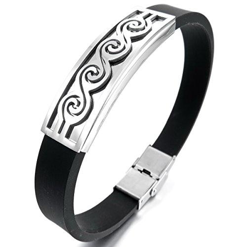 MunkiMix Acier Inoxydable Caoutchouc Bracelet Bracelet Menotte Noir Ton d'Argent Homme,Femme