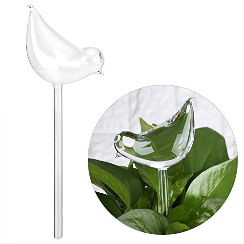 Nannday Automatic Watering Devices, Clear Glass Bird Shape Self Water Feeder for House Plants Flowers