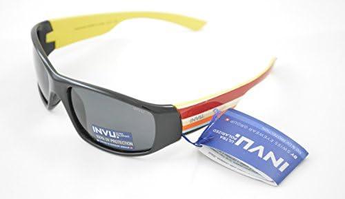 INVU Gafas de Sol polarizadas Bimbo K 2409 a Negro Amarillo Lentes ...