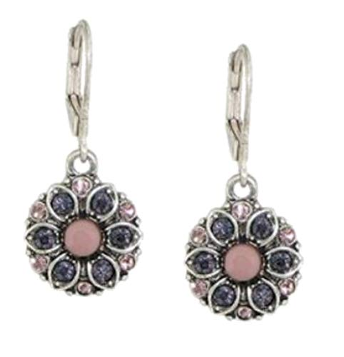 Baked Beads Earrings - Crystal Florette - Pink/Purple