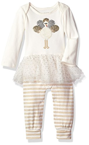 Metallic Linen Pants - Mud Pie Baby Girls' Thanksgiving Turkey Tutu One-Piece Playwear, Gold, 3-6 Mos