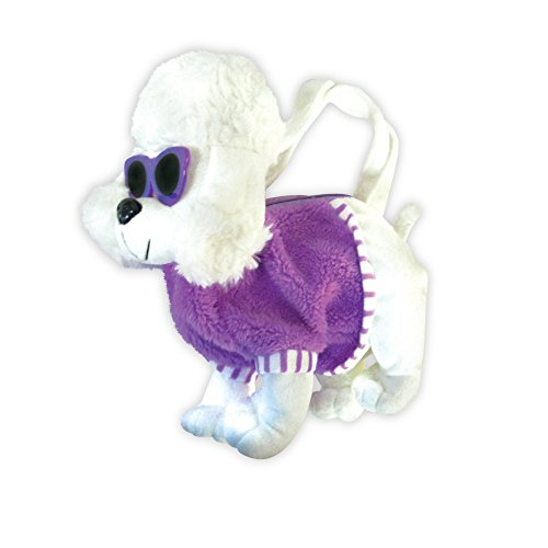 Plush Poodle with Sunglasses Adorable Childrens Handbag School Bag (Purple) (Plush Poodle Purse)