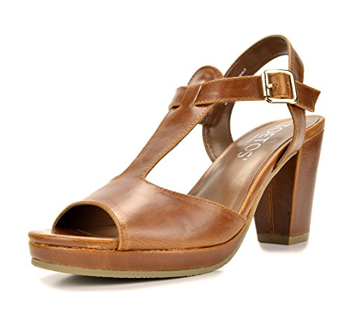 - TOETOS DIANE-05 New Women's T-Strap Open Toes Mid Chunky Heels Platform Dress Sandals TAN Size 9.5