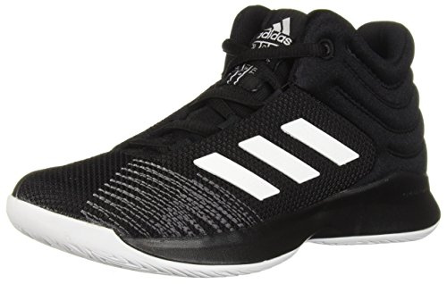 adidas Unisex Pro Spark 2018 Basketball Shoe, Black/White/Grey, 4 M US Big Kid - Kids Volleyball Shoes