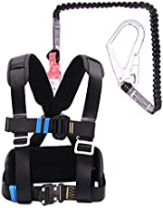 Industrial Fall Protection Safety Harness Kit, Half Body Fall Protection Safety Harness, Safety Harness, with Stretchable Lanyard,Hook, Back D-Ring,B