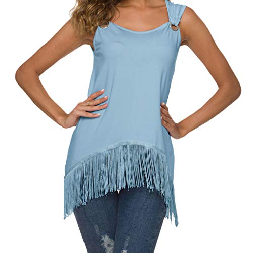 (〓LYN Star〓 Women's Summer Sleeveless Pleated Back Closure Casual Tank Tops Casual Shirts Fringed Basic Shirts Blouses Light Blue)