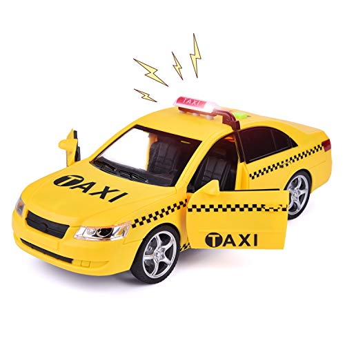 Car Toy for Boys, Push and Go Friction Powered Taxi Car with LED Lights & Car Horn Sound, 1 : 16 NYC Yellow Taxi Cab wtih Openable Doors & Simulation Automotive Interior Structure (Batteries Included) (Cab Ground Effects)