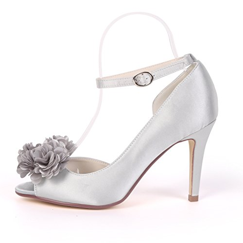L@YC Women Wedding Shoes Party Peep Toe Bridesmaids Chunky 9cm Heel Large Size Bridal Sandal Champagne KKQMxJdDD