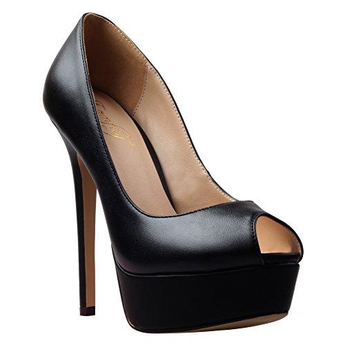 Pompe Per Le Donne, Sexy Peep Toe Tacchi Alti Slip On Platform Shoes Dress Wedding Party Pumps Black