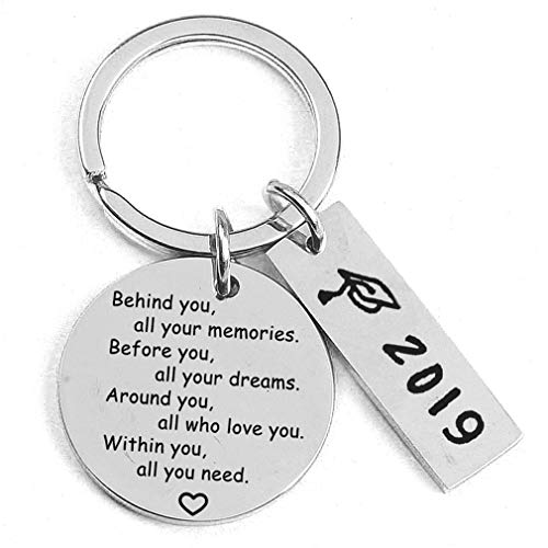 DONGMING Graduation Gifts for Her 2019 Behind You All Your Memories Before You All Your Dream Graduation Keychain Inspirational Graduates Key Chains Inspirational Gifts for Women