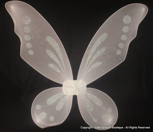 [Fairy Wings - Pixie Wings - Tinkerbell Wings - White] (White Fairy Costumes)