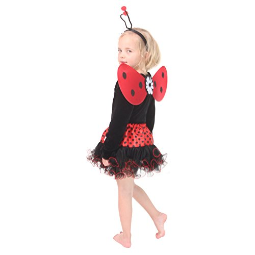 Ladybug Tutu Set (Red Ladybug Dress Up Tutu, Wing & Headband Set,Red,3/8)