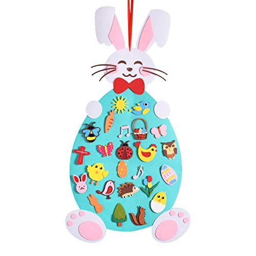Max Fun 3.1 Ft DIY Rabbit Felt Crafts Ornaments with Hanging Craft Kits for Kids Easter Birthday Party Favor(DIY Felt Easter -