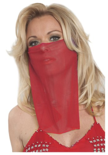 Western Fashion Belly Dance Red Face Veil Standard