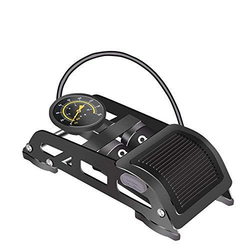 YEXIN Foot Pump, Tyre Inflator, Double Barrel Foot Air Pump with Accurate Pressure Gauge & Smart Valves, Floor Pump for Bicycles, Motorcycles, Cars, Balls and Other (Best Floor Pump With Gauge Suitable)