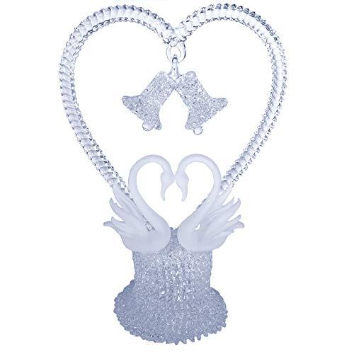 Swan Heart Wedding Cake Topper Hand Blown Glass -