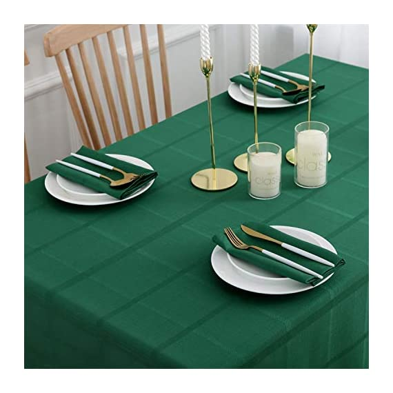 VEEYOO Rectangle Spillproof Table Cloth - 60 x 102 Inch Green Striped Tablecloth in Washable Polyester - Stain Resistant Wrinkle Free Tablecloth for Dinner Party Restaurant - 100% Polyester Fabric Tablecloth. Made of high quality material, these table cloth are soft touch, also they're stain and wrinkle resistant for home indoor and outdoor use. Elegance Plaid Table Cloth. Special design with jacquard lines makes these tablecloths more textured, beautiful and simple. Also the Hemmed edges checkered tablecloths are perfect for Bridal Shower, Banquet. Spillproof Tablecloth. All liquids/spills bead up for an easy clean with sponge or napkins. Also, these waterproof table covers are not fade. Machine washable, no bleach, gentle cycle and no iron, easy care for daily use. - tablecloths, kitchen-dining-room-table-linens, kitchen-dining-room - 41mQUpZ KUL. SS570  -