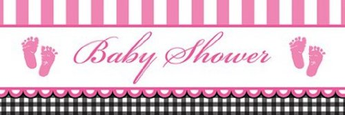 (Giant Baby Shower Banner, Sweet Baby Feet Pink)