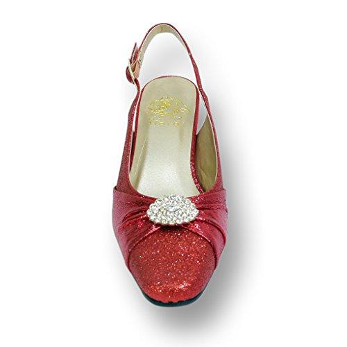 Fic Floreale Elaine Donna Ampia Larghezza Scarpe Da Sera Per Matrimoni, Ballo E Cena (dimensioni / Tabella Di Misura) Rosso