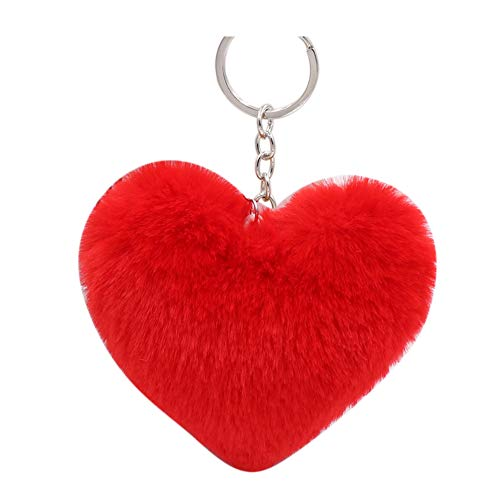 (HEART SPEAKER Women Fluffy Love Heart Pendant Keychain Key Ring Handbag Bag Faux Fur Wallet Decor Red)