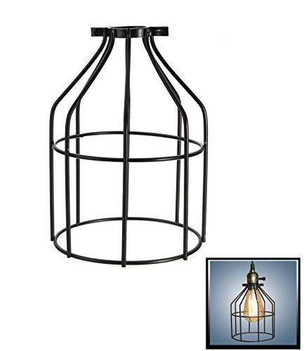 Metal Lamp Guard,Fashionclubs Industrial Bulb Guard Vintage Lamp Holder,Pendant Wire Lamp/Light Guard Cage Lampshades (Pack of 0ne) (Wire Cage Pendant)