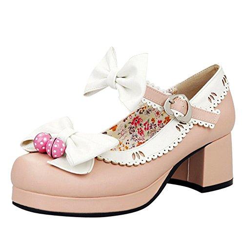 Women's Carol Platform Heel Sweet Cute Pink Mid Shoes Bows Court Shoes Hxr5FwYH