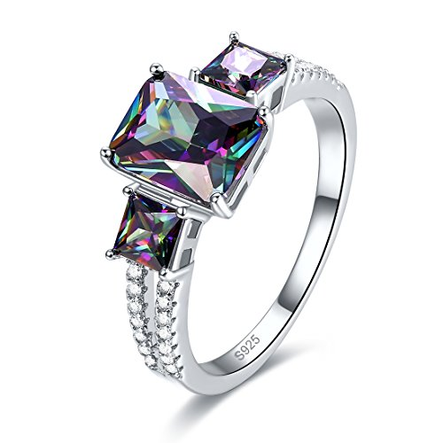 Mystic Topaz 3 Stone Ring - Merthus Womens 925 Sterling Silver Created Mystic Rainbow Topaz 3 Stone Ring