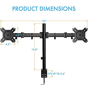Dual Arm Monitor Mount, Full Motion Height Adjustable Desk Riser Stand with C-Clamp Installation for Two 13 to 27 inch Computer Screens, up to 17.6lbs Each Arm by HUANUO
