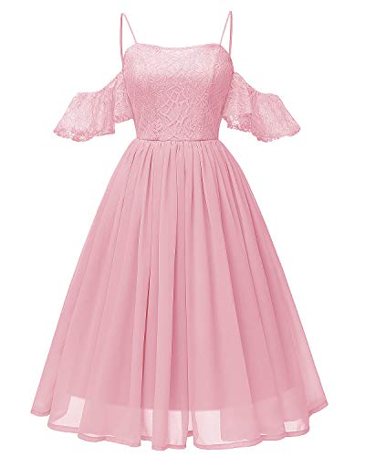 - Women's Lace Midi Homecoming Dress Ruffled Off The Shoulder Straps Chiffon Gown Blush Pink L