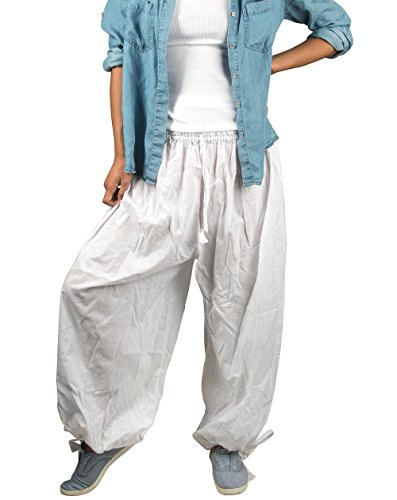 Tribe Azure Women Harem Yoga Baggy 100% Cotton Pants Adjustable Length Smocked Waist Casual Hippie Summer Yoga Boho Bohemian Tribal Ethnic Dance Gypsy (White)