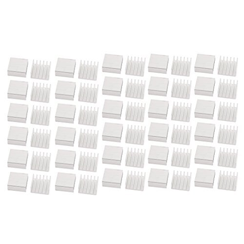 DealMux 60Pcs 14 mm x 14 mm x 6 mm de aluminio del disipador de calor del radiador de refrigeraci/ón Tone Fin de plata