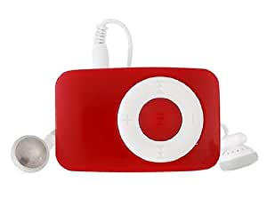 Mini Plastic Clip MP3 Audio Player (Red)