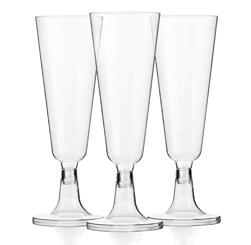 48 Premium Plastic 5oz Champagne Glasses - Bulk Disposable Champagne Flutes for Wedding, Party, Toasting, Mimosa or Cocktails]()
